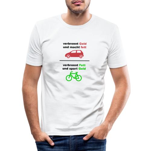 Spart Geld und verbrennt Fett Shirt Vorne - Männer Slim Fit T-Shirt