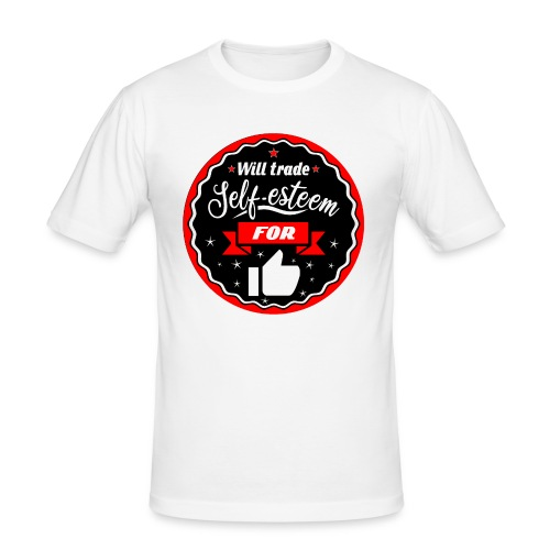 Trade self-esteem for likes (inches) - Men's Slim Fit T-Shirt