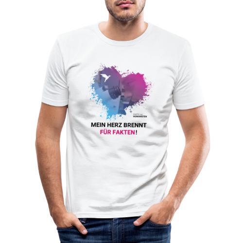 Mein Herz brennt für Fakten! - Männer Slim Fit T-Shirt