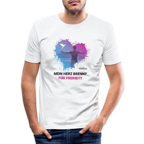 Mein Herz brennt für Freiheit! - Männer Slim Fit T-Shirt