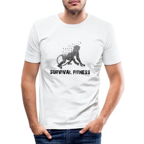 Survival Fitness Logo Schwarz - Männer Slim Fit T-Shirt