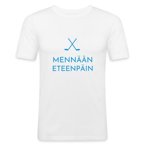 Mennaeaen eteenpaein sininen - Miesten tyköistuva t-paita