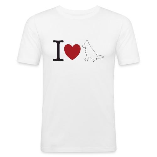 I LOVE White Dog - Obcisła koszulka męska