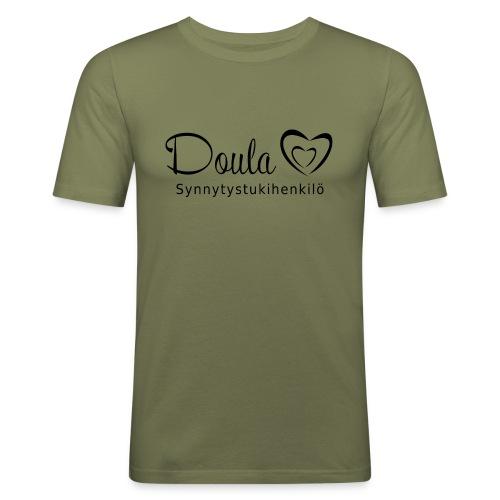 doula sydämet synnytystukihenkilö - Miesten tyköistuva t-paita