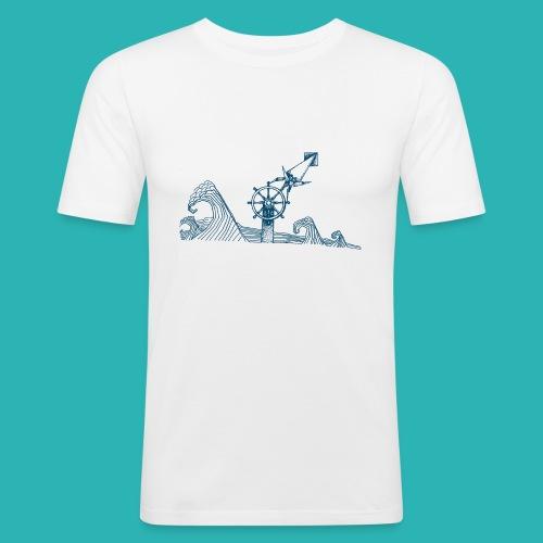 Carta_timone_blu-png - Maglietta aderente da uomo