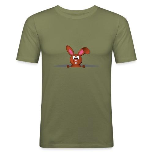 Cute bunny in the pocket - Maglietta aderente da uomo