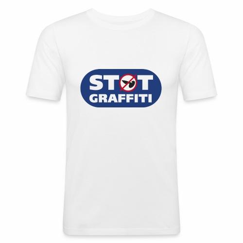 støt graffiti - blk logo - Herre Slim Fit T-Shirt
