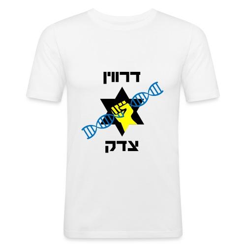 דרווין צדק - רקע לבן - Men's Slim Fit T-Shirt