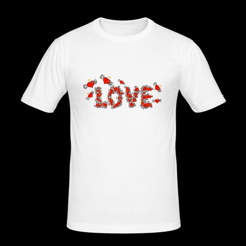 Flying Hearts LOVE - Herre Slim Fit T-Shirt