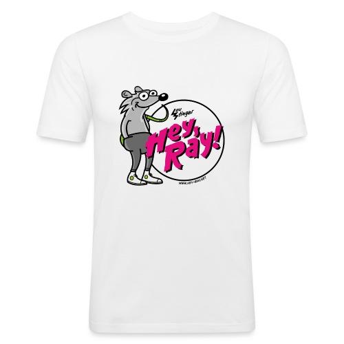 Hey Ray! Logo magenta - Männer Slim Fit T-Shirt
