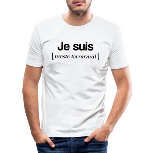 Je suis (sort skrift) - Herre Slim Fit T-Shirt