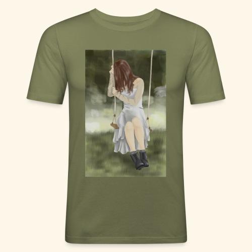 Sad Girl on Swing - Men's Slim Fit T-Shirt
