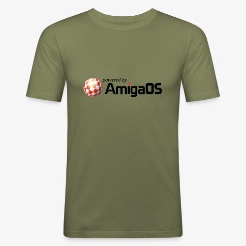 PoweredByAmigaOS Black - Men's Slim Fit T-Shirt