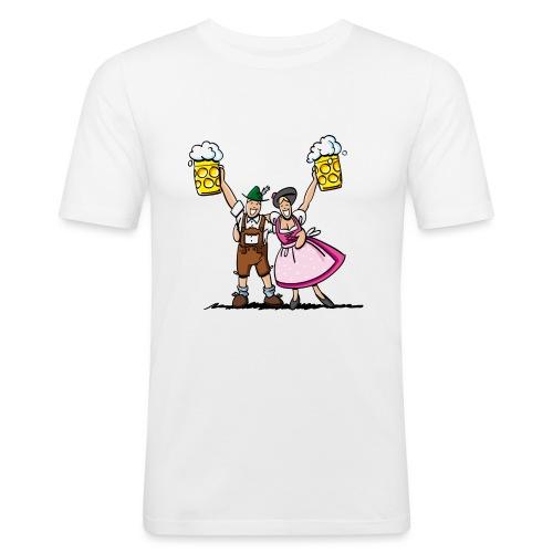 Fröhliches Oktoberfest Paar mit Bierkrug - Männer Slim Fit T-Shirt