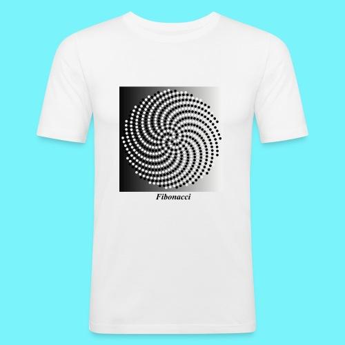 Fibonacci spiral pattern in black and white - Men's Slim Fit T-Shirt