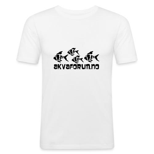 Akvaforumlogo m fisk flock - Slim Fit T-skjorte for menn