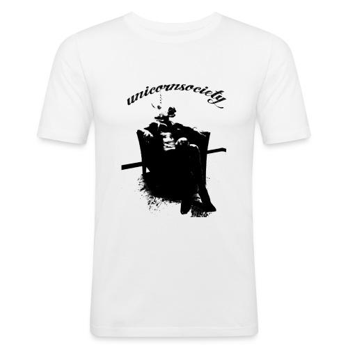 unicornsocity chair bw black writing png - Männer Slim Fit T-Shirt
