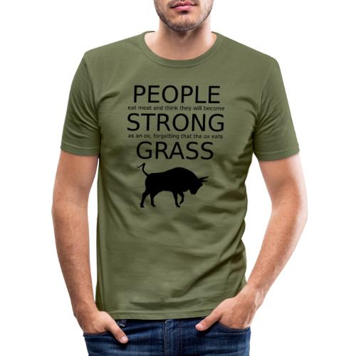 Strong People are Vegan - Männer Slim Fit T-Shirt