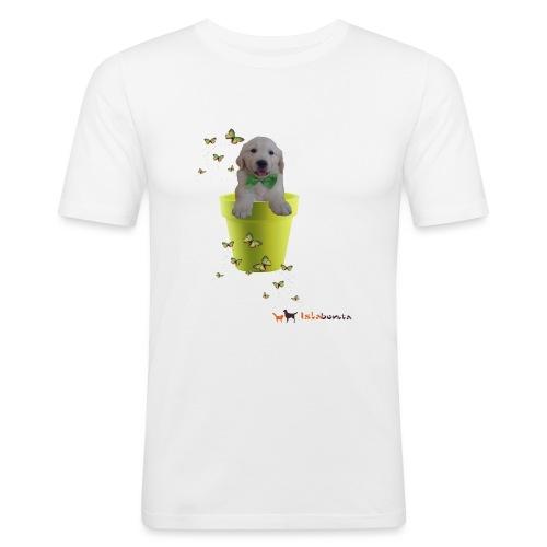 Cucciolo Golden Retriever in-vaso dalle farfalle - Maglietta aderente da uomo