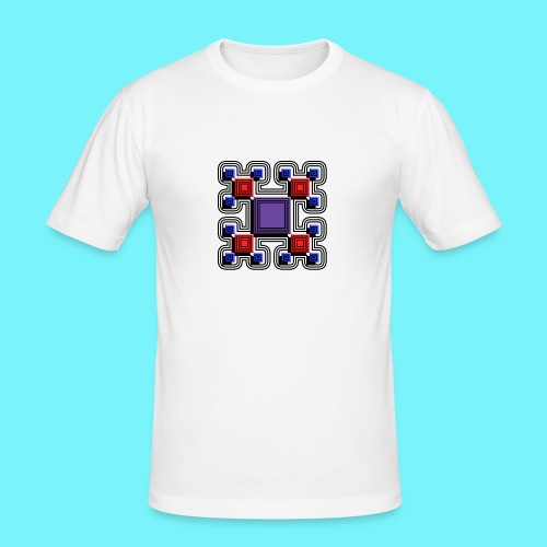 Blocks with lines and solid shadows - Men's Slim Fit T-Shirt