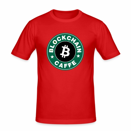 BlockChain Caffè Logo - Maglietta aderente da uomo