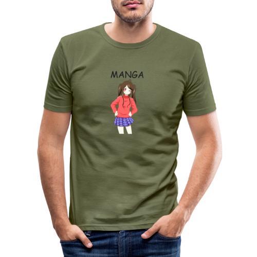 Anime girl 02 Text Manga - Männer Slim Fit T-Shirt