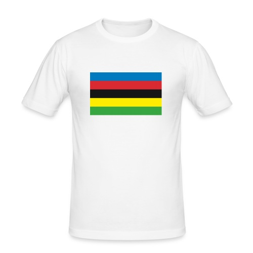 Cycling_World_Champion_Rainbow_Stripes-png - Mannen slim fit T-shirt