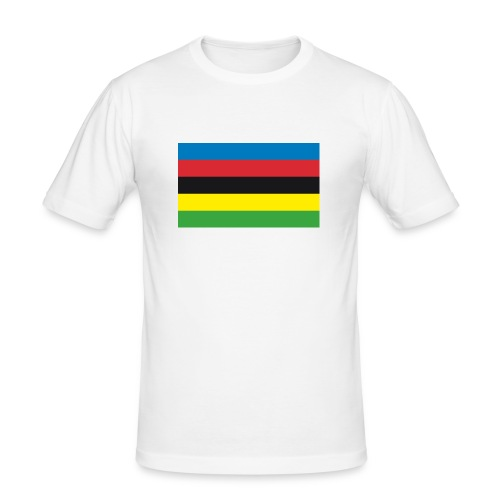 Cycling_World_Champion_Rainbow_Stripes-png - Mannen slim fit T-shirt