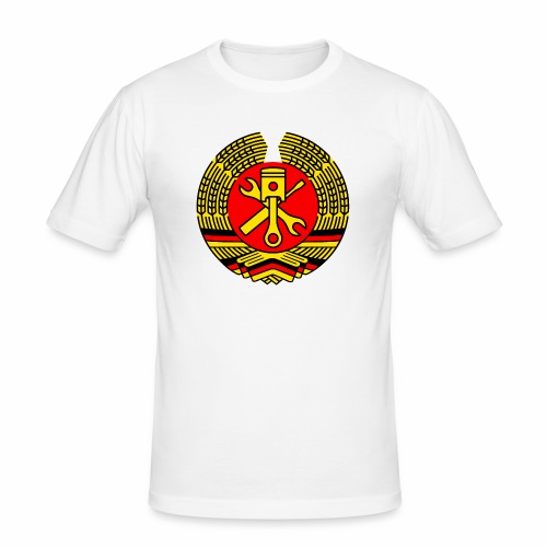 DDR Tuning Coat of Arms 3c (+ Your Text) - Men's Slim Fit T-Shirt