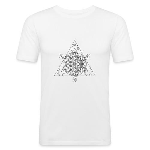 Sacred Geometry Seed, Flower. Tree Black - Men's Slim Fit T-Shirt