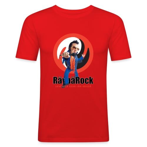 Räyhärock valkoinen - Miesten tyköistuva t-paita