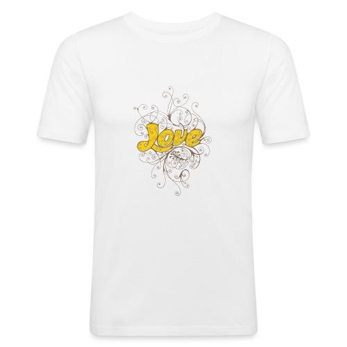 Scritta Love con decorazione - Maglietta aderente da uomo