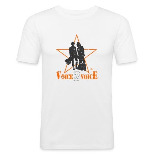 voice2voice logo used 2 mit rahmen141220 - Männer Slim Fit T-Shirt