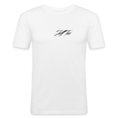 JeffTec Signature Logo White - Men's Slim Fit T-Shirt