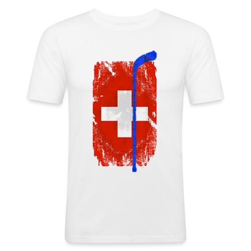 Schweizer Flagge Hockey - Männer Slim Fit T-Shirt