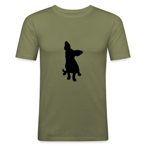 Chihuahua istuva musta - Miesten tyköistuva t-paita