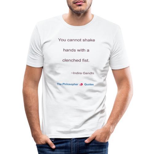 Indira Gandhi Shake hands b - Mannen slim fit T-shirt