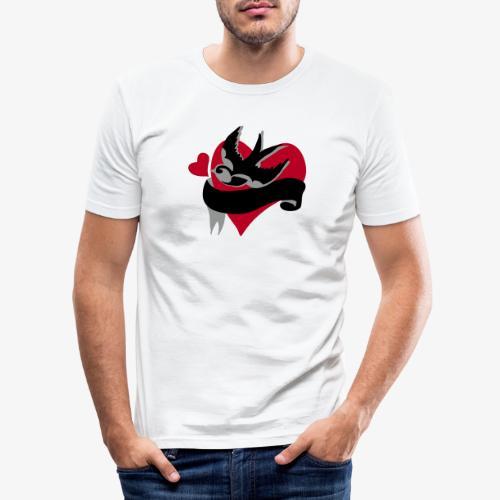 retro tattoo bird with heart - Men's Slim Fit T-Shirt
