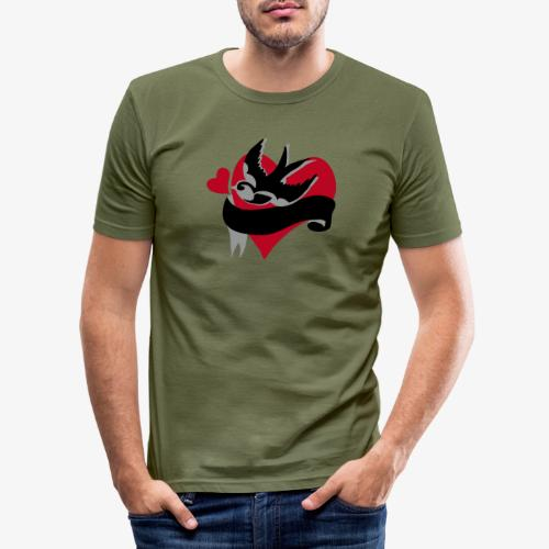 retro tattoo bird with heart - Men's Slim Fit T-Shirt