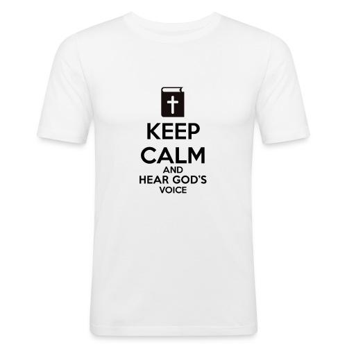 Keep Calm and Hear God Voice Meme - Camiseta ajustada hombre