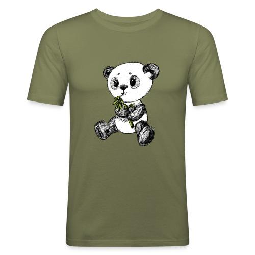 Panda Bär farbig scribblesirii - Männer Slim Fit T-Shirt
