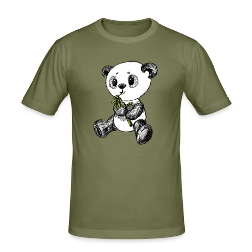 Panda Karhu värillinen scribblesirii - Miesten tyköistuva t-paita