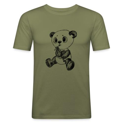 Panda Karhu musta scribblesirii - Miesten tyköistuva t-paita