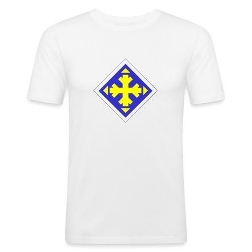 Mäksäreppu, vaalean sininen - Miesten tyköistuva t-paita