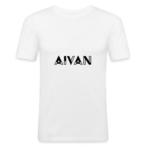 Aivan - Musta teksti - Miesten tyköistuva t-paita