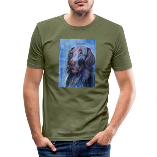 flatcoated retriever - watercolor - Herre Slim Fit T-Shirt