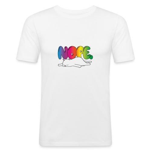 Katzenmotiv Lustig Fun Bunt Regenbogen Spruch NOPE - Männer Slim Fit T-Shirt