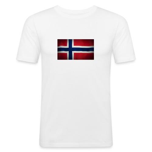 Norsk Flagg - Slim Fit T-skjorte for menn