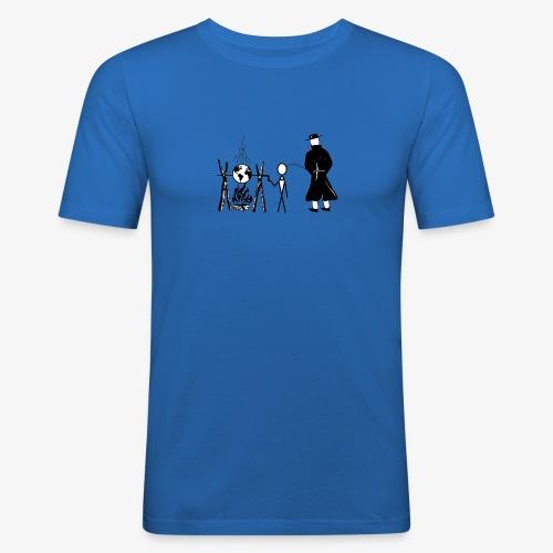 Pissing Man against human self-destruction - Männer Slim Fit T-Shirt