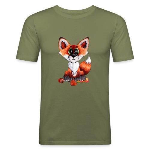 llwynogyn - a little red fox - Miesten tyköistuva t-paita